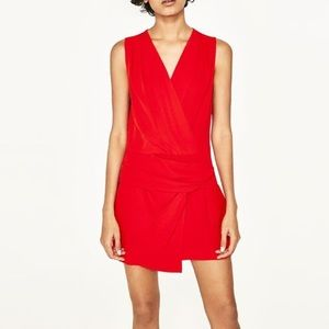 Zara Basic Red Romper Size Large